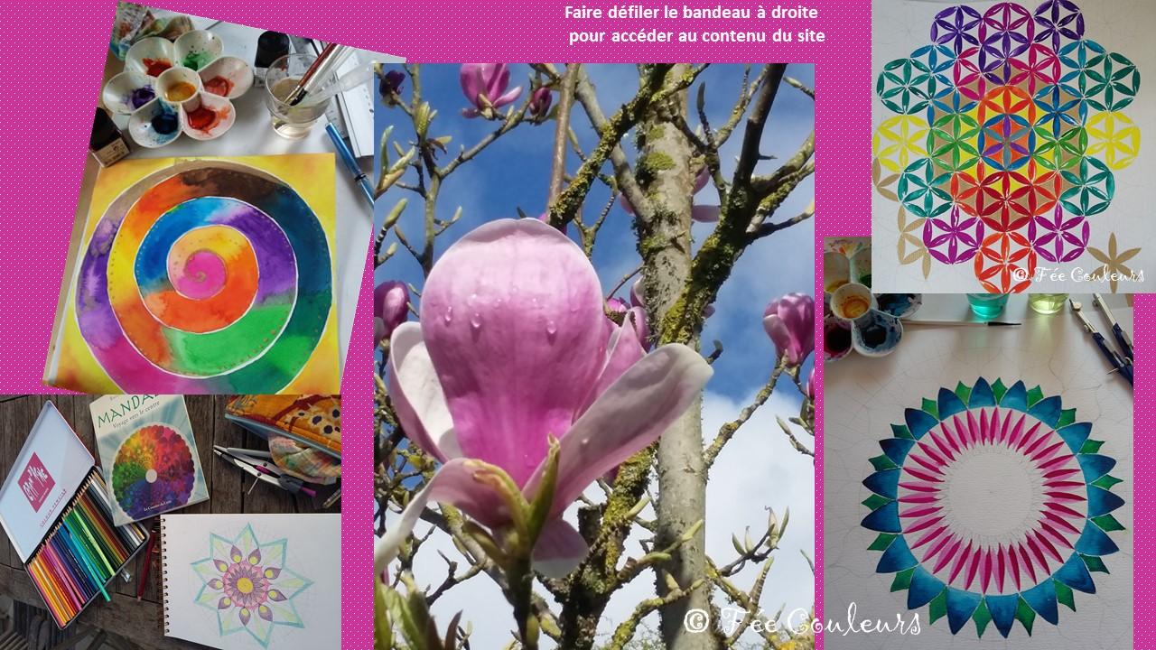 Ateliers mandalas, ateliers créatifs autour de la couleur, de l'aquarelle Hauschka ...